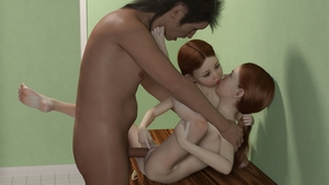 Rating: Explicit Score: 50 Tags: 1boy 2girls 3dcg age_difference ass barefoot freckles kiss mullet multiple_girls nude penis photorealistic ponytail pussy red_hair sonofka vaginal yuri User: fantasy-lover