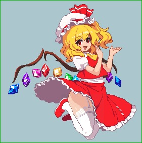 Rating: Safe Score: 1 Tags: 1girl :d ascot blonde_hair crystal eyebrows_visible_through_hair flandre_scarlet frilled_skirt frills full_body garter_straps grey_background hat hat_ribbon jumping lace lace-trimmed_thighhighs looking_at_viewer lowres medium_hair medium_skirt mob_cap one_side_up open_mouth pixel_art puffy_short_sleeves puffy_sleeves red_eyes red_footwear red_ribbon red_skirt red_vest ribbon shirt shoes short_sleeves simple_background skirt skirt_set smile solo takorin thighhighs touhou_project vest white_legwear white_shirt wings yellow_neckwear User: DMSchmidt