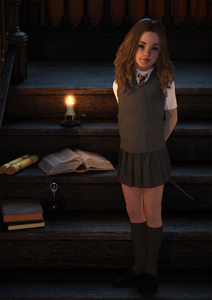 Rating: Safe Score: 9 Tags: 1girl 3dcg book brown_hair candle flat_chest harry_potter hermione_granger long_hair looking_at_viewer necktie nipples photorealistic pose red_hyacinth school shadow shoes skirt smile socks standing zettai_ryouiki User: fantasy-lover