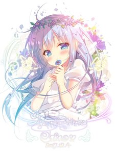 Rating: Safe Score: 0 Tags: 1girl ahoge blue_eyes blue_hair blush character_name closed_mouth dated eyebrows_visible_through_hair flower gochuumon_wa_usagi_desu_ka? happy_birthday head_wreath holding holding_flower kafuu_chino looking_at_viewer mitsumomo_mamu puffy_short_sleeves puffy_sleeves short_sleeves smile solo User: DMSchmidt