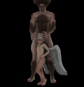 Rating: Questionable Score: 5 Tags: 1boy 1girl 3dcg angel closed_mouth demon_girl flat_chest full_body groin nipples nude original photorealistic sensei63_(tiziano_capelli) standing transparent_background wings User: Domestic_Importer