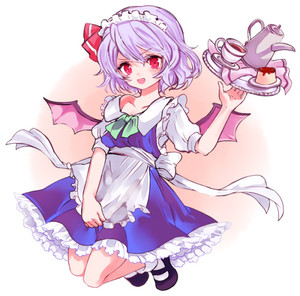 Rating: Safe Score: 0 Tags: 1girl alternate_costume apron bangs bat_wings black_footwear blush bow cosplay cup enmaided eyebrows_visible_through_hair food full_body hair_bow headdress izayoi_sakuya izayoi_sakuya_(cosplay) looking_at_viewer maid maid_headdress mary_janes multicolored_background multicoloured off_shoulder open_mouth pudding purple_hair red_bow red_eyes remilia_scarlet sauce shoes short_hair short_sleeves socks solo teacup teapot tori_(10ri) touhou_project tray two-tone_background waist_apron white_legwear wings User: DMSchmidt