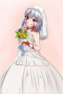 Rating: Safe Score: 0 Tags: 1girl artist_request bare_shoulders bouquet bridal_veil bride burn_scar dorei_to_no_seikatsu_~teaching_feeling~ dress flower grey_hair happy highres looking_at_viewer pink_background purple_eyes ribbon scar smile solo sylvie_(dorei_to_no_seikatsu) veil wedding_dress white_dress User: DMSchmidt