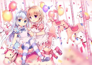 Rating: Safe Score: 1 Tags: 2girls :d animal_ears apron azumi_kazuki balloon bangs blue_bow blue_dress blue_eyes blue_footwear blue_hair blurry blurry_background blush bow bunny_ears candy carousel confetti depth_of_field dress eyebrows_visible_through_hair fake_animal_ears food frilled_apron frills gochuumon_wa_usagi_desu_ka? hair_between_eyes hair_ornament hairband hairclip heart holding holding_lollipop hoto_cocoa kafuu_chino light_brown_hair lollipop long_hair looking_at_viewer mary_janes multiple_girls open_mouth parted_lips pink_dress puffy_short_sleeves puffy_sleeves purple_eyes red_bow shoes short_sleeves smile striped striped_bow striped_legwear thighhighs very_long_hair white_apron white_hairband wrist_cuffs User: DMSchmidt