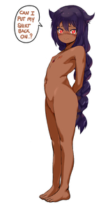 Rating: Questionable Score: 4 Tags: 1girl arms_behind_back bangs barefoot blush braid brown_skin closed_mouth d1975 flat_chest hair_between_eyes hair_flaps highres jahy jahy_sama_wa_kujikenai jewellery long_hair looking_at_viewer navel necklace nude purple_hair red_eyes simple_background single_braid solo standing text very_long_hair white_background User: DMSchmidt