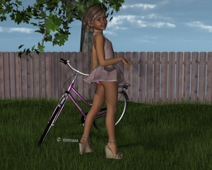 Rating: Safe Score: 7 Tags: 1girl 3dcg artist_name ass bicycle blonde_hair blue_eyes covered_nipples dress fence grass high_heels highres leaves looking_at_viewer looking_back nude outdoors pantsu photorealistic sandals short_hair smile solo standing sundress timnaas tree underwear User: Software