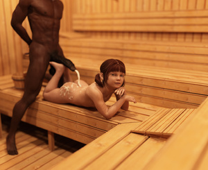 Rating: Explicit Score: 34 Tags: 1boy 1girl 3dcg absurdres age_difference ass bangs barefoot blunt_bangs brown_skin cum cum_on_ass cum_on_body dark_skinned_male ejaculation flat_chest footjob freckles highres interracial looking_at_viewer navel nipples nude penis photorealistic rape red_hair sabine_heinrich sauna standing testicles twin_tails User: fantasy-lover