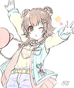 Rating: Safe Score: 0 Tags: 1girl akagi_miria arms_up bag belt_buckle blue_jacket bow brown_bow brown_eyes brown_hair buckle chita_(ketchup) clothes_writing double_bun hair_bow hair_ornament heart heart_hair_ornament idolmaster idolmaster_cinderella_girls jacket long_sleeves open_clothes open_jacket outstretched_arm purple_shorts shirt short_shorts shorts shoulder_bag signature sleeveless_jacket sleeves_past_wrists solo white_background yellow_belt yellow_shirt User: Domestic_Importer
