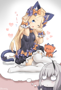 Rating: Safe Score: 1 Tags: 2girls ;o abigail_williams_(fate/grand_order) animal_ears bangs black_bow black_dress blonde_hair blue_eyes blush bow breasts cat_day cat_ears cat_tail dress fang fate_(series) frilled_dress frills hair_bow heart horn imagining kemonomimi_mode lavinia_whateley_(fate/grand_order) long_hair looking_at_viewer multiple_girls no_shoes one_eye_closed open_mouth orange_bow pale_skin parted_bangs paw_pose polka_dot polka_dot_bow sleeveless sleeveless_dress small_breasts stuffed_animal stuffed_toy tail tail_bow teddy_bear thighhighs very_long_hair white_hair wrist_cuffs yyo zettai_ryouiki User: Domestic_Importer