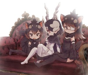 Rating: Safe Score: 3 Tags: 3girls all_fours animal_ears antlers australian_devil_(kemono_friends) black_hair black_legwear black_skirt blackbuck_(kemono_friends) blush brown_eyes brown_gloves brown_hair closed_mouth detached_sleeves eyebrows_visible_through_hair eyepatch gloves hair_over_one_eye highres kemono_friends kolshica long_hair looking_at_viewer multicoloured_hair multiple_girls open_mouth pantyhose red_eyes short_hair sitting skirt tail tasmanian_devil_(kemono_friends) thighhighs white_hair white_legwear User: DMSchmidt