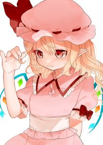 Rating: Safe Score: 0 Tags: 1girl alternate_costume arm_behind_back bangs blonde_hair blush crystal dress eyebrows_visible_through_hair flandre_scarlet frilled_shirt_collar frills gotoh510 hair_between_eyes hand_up hat hat_ribbon highres long_hair mob_cap one_side_up pink_dress pink_hat pointy_ears puffy_short_sleeves puffy_sleeves red_eyes red_ribbon ribbon short_sleeves solo touhou_project upper_body white_sash wings User: DMSchmidt