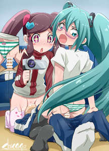 Rating: Explicit Score: 1 Tags: 1boy 2girls ass bar_censor black_legwear blush blush_stickers bow bow_panties camera censored chicago-x child_on_child clothed_sex cowgirl_position cunnilingus eyebrows_visible_through_hair glasses glint green_eyes green_hair hatsune_miku hatsune_miku_(shinkalion) heart hetero holding holding_camera long_hair long_sleeves looking_at_viewer looking_back multiple_girls nopan open_mouth oral panties_aside pantsu penis pussy pussy_juice semi-rimless_eyewear sex shimapan shinkansen_henkei_robo_shinkalion shirt shota socks sparkle straddling striped sweat twin_tails ueda_azusa underwear vaginal vocaloid white_shirt User: Domestic_Importer