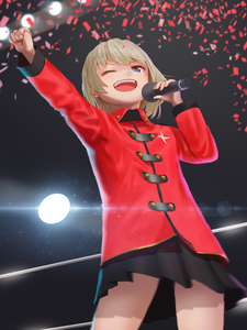 Rating: Safe Score: 0 Tags: 1girl bangs black_skirt blonde_hair blue_eyes coat confetti emblem furukawa_herzer girls_und_panzer highres holding katyusha lens_flare long_sleeves microphone miniskirt pleated_skirt raised_fist red_coat russia school_uniform searchlight short_hair skirt solo standing winter_clothes User: DMSchmidt