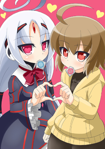 Rating: Safe Score: 0 Tags: 2girls ahoge black_dress brown_hair condom condom_in_mouth dress forehead_jewel frills heart heart-shaped_pupils heart_hands heart_hands_duo hoodie huge_ahoge linne long_hair mouth_hold multiple_girls neon_trim red_eyes short_hair simple_background spats symbol-shaped_pupils twin_tails under_night_in-birth vatista white_hair yanagi_kawa User: DMSchmidt