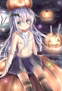 Rating: Safe Score: 1 Tags: 1girl bandaged_arm bandages bangs bare_shoulders bat_hair_ornament black_legwear black_skirt blue_eyes blush budget_sarashi cannon closed_mouth eyebrows_visible_through_hair glowing hair_between_eyes hair_ornament halloween hibiki_(kantai_collection) highres jack-o'-lantern kantai_collection long_hair na!?_(naxtuyasai) navel night night_sky outdoors pleated_skirt pumpkin_hat sarashi silver_hair sitting skirt sky solo striped striped_legwear thighhighs very_long_hair water User: Domestic_Importer