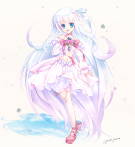 Rating: Safe Score: 1 Tags: 1girl :d absurdly_long_hair artist_name blue_bow blue_eyes bow choker dated hair_ribbon highres holding holding_microphone long_hair long_sleeves looking_at_viewer microphone midriff navel open_mouth original pink_background pink_choker pink_footwear pink_ribbon pink_skirt ribbon silver_hair simple_background skirt smile solo standing standing_on_one_leg very_long_hair yuitsuki1206 User: DMSchmidt