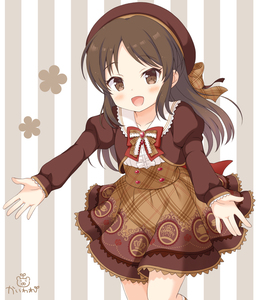 Rating: Safe Score: 0 Tags: 1girl :d bangs beret blush bow bowtie brown_bow brown_eyes brown_hair brown_hat brown_shirt brown_skirt collarbone collared_shirt eyebrows_visible_through_hair frilled_shirt frills hat head_tilt idolmaster idolmaster_cinderella_girls idolmaster_cinderella_girls_starlight_stage juliet_sleeves kaiware-san long_sleeves looking_at_viewer open_mouth outstretched_arm parted_bangs plaid plaid_bow plaid_skirt print_skirt puffy_sleeves red_neckwear shirt skirt sleeves_past_wrists smile solo standing standing_on_one_leg striped tachibana_arisu vertical-striped_background vertical_stripes white_shirt User: Domestic_Importer