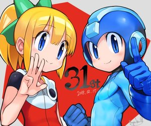 Rating: Safe Score: 1 Tags: 1boy 1girl android anniversary bangs blonde_hair blue_eyes blue_gloves blunt_bangs blush bow dated eyebrows_visible_through_hair gloves green_bow hair_bow hair_ornament hand_gesture helmet index_finger_raised long_hair ponytail protected_link rockman rockman_(character) rockman_(classic) rockman_11 roll ryuda sidelocks smile User: DMSchmidt