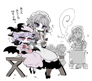 Rating: Safe Score: 0 Tags: 5girls =d alternate_colour alternate_eye_colour apron ascot bench black_dress black_legwear blue_eyes blush boiler bow bowl cooking dress eating fairy_maid green_eyes hat hat_bow height_difference hong_meiling izayoi_sakuya lavender_dress looking_at_viewer maid maid_apron multiple_girls nose_blush pink_eyes pointy_ears pot purple_eyes remilia_scarlet silver_hair simple_background sitting sketch smile spoon steam touhou_project translation_request white_background yt_(wai-tei) User: DMSchmidt