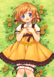 Rating: Safe Score: 0 Tags: 1girl :d bloomers blue_eyes braid copyright_request dandelion dress flower grass hands_on_own_chest inou_shin looking_at_viewer lying on_back open_mouth orange_hair plant short_hair smile solo twin_braids User: DMSchmidt