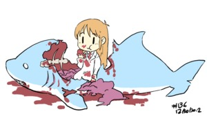 Rating: Safe Score: 6 Tags: 10s 1girl 2012 :t >_< animated blood blood_on_face bloody_clothes bone chewing closed_eyes dated death eating entrails gif guro hakase_(nichijou) junkpuyo labcoat long_hair nichijou orange_hair organs shark simple_background solo spine white_background |_| User: DMSchmidt