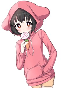 Rating: Safe Score: 0 Tags: 1girl absurdres alternate_costume arm_up black_hair blush bright_pupils candy carrot_necklace drawstring dutch_angle eating eyebrows_visible_through_hair flat_chest food hand_in_pocket highres holding_lollipop hood hoodie inaba_tewi lollipop orange_shorts pink_hoodie red_eyes short_hair shorts simple_background smile solo standing swirl_lollipop touhou_project tsukimirin upper_body white_background white_pupils User: DMSchmidt