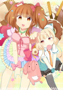 Rating: Safe Score: 0 Tags: 2girls :3 \m/ ashino bangs blush bow breasts candy cleavage dot_nose food frilled_sleeves frills futaba_anzu hair_bow idolmaster idolmaster_cinderella_girls lace_border light_brown_eyes lollipop long_hair looking_at_viewer loose_necktie low_twintails moroboshi_kirari mouth_hold multiple_girls necktie open_mouth orange_eyes orange_hair orange_neckwear outstretched_arm outstretched_legs pink_bow platinum_blonde_hair reaching_out short_sleeves sitting stuffed_animal stuffed_bunny stuffed_toy swirl_lollipop twin_tails v-shaped_eyebrows v_arms wrist_bow User: Domestic_Importer