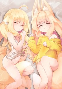Rating: Questionable Score: 9 Tags: 2girls animal_ear_fluff animal_ears babydoll bed_sheet blonde_hair borrowed_character bottomless crossover eyebrows_visible_through_hair fox_ears fox_tail hair_between_eyes highres long_eyelashes long_hair lying multiple_girls multiple_tails nightgown on_back on_side original romy sleeping sleepwear tail User: DMSchmidt