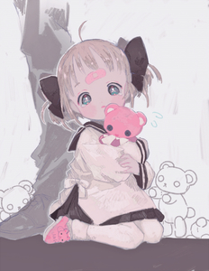 Rating: Safe Score: 4 Tags: 1girl ahoge aqua_eyes bandaid bandaid_on_forehead bangs black_ribbon black_skirt blush bobby_socks flying_sweatdrops full_body grey_background hair_ribbon head_tilt holding holding_stuffed_animal light_brown_hair long_sleeves looking_at_viewer namepino object_hug open_mouth original out_of_frame pants pink_footwear ribbon school_uniform serafuku shoes short_hair sitting skirt socks solo_focus standing stuffed_animal stuffed_toy tareme tears teddy_bear two_side_up wariza white_legwear User: DMSchmidt