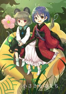 Rating: Safe Score: 1 Tags: 2girls :3 :d ahoge animal_ears blue_hair bobby_socks eyebrows_visible_through_hair frills full_body grey_hair iris_anemone japanese_clothes jewellery kimono long_sleeves looking_at_viewer minigirl miracle_mallet mouse_ears mouse_tail multiple_girls nazrin needle obi open_mouth orange_eyes pendant pink_flower puffy_long_sleeves puffy_sleeves red_eyes red_kimono sash short_hair sitting smile socks sparkle sukuna_shinmyoumaru tail touhou_project white_legwear wide_sleeves User: Domestic_Importer