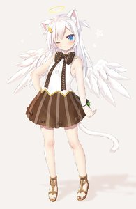 Rating: Safe Score: 1 Tags: 1girl angel_wings animal_ears blue_eyes blush bow brown_bow brown_skirt cacao_(yano_mitsuki) cat_ears cat_tail feathered_wings full_body halo highres long_hair one_eye_closed original polka_dot polka_dot_bow sandals shirt silver_hair skirt sleeveless sleeveless_shirt solo standing striped tail vertical-striped_skirt vertical_stripes white_wings wings yano_mitsuki User: DMSchmidt