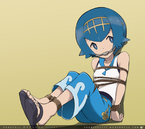 Rating: Safe Score: 0 Tags: 10s 1girl baggy_pants bare_shoulders bdsm blue_eyes blue_hair bondage bound breasts feet full_body gagged highres looking_to_the_side npc_trainer pants pokemon pokemon_(game) pokemon_sm restrained rope short_hair sleeveless_shirt slippers small_breasts solo suiren_(pokemon) swimsuit_under_clothes tape_gag tied_up toenails toes trial_captain User: Domestic_Importer