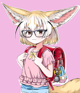 Rating: Safe Score: 0 Tags: 1girl akegata_tobari animal_ear_fluff animal_ears backpack badge bag bespectacled black-framed_eyewear blonde_hair brown_bear_(kemono_friends) brown_eyes button_badge cowboy_shot extra_ears fennec_(kemono_friends) fox_ears fox_tail frills glasses highres holding_strap kemono_friends large_ears looking_at_viewer medium_hair multicoloured_hair pink_background pink_shirt randoseru shirt short_shorts shorts simple_background smile solo tail two-tone_hair white_hair younger User: Domestic_Importer