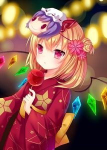 Rating: Safe Score: 0 Tags: 1girl alternate_costume amashiro_natsuki blonde_hair candy_apple face_mask flandre_scarlet flower hair_flower hair_ornament highres japanese_clothes kimono looking_at_viewer mask obi pink_eyes remilia_scarlet sash side_ponytail solo touhou_project wide_sleeves wings yukata User: DMSchmidt