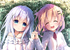 Rating: Safe Score: 0 Tags: 2girls :d ^_^ bangs bare_shoulders blue_eyes blue_hair blush closed_eyes closed_mouth collarbone collared_shirt day dosu_(yodosu) eyebrows_visible_through_hair facing_viewer frilled_shirt frills gochuumon_wa_usagi_desu_ka? grass hair_between_eyes hair_ornament hairclip head_tilt holding_hands hoto_cocoa interlocked_fingers kafuu_chino long_sleeves looking_at_viewer lying multiple_girls neck_ribbon off-shoulder_shirt on_back on_grass open_mouth outdoors red_ribbon ribbon shirt smile strap_slip white_shirt x_hair_ornament User: Domestic_Importer
