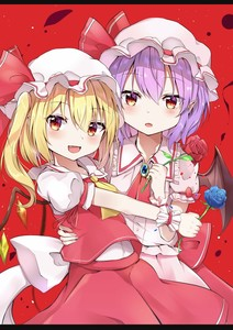 Rating: Safe Score: 1 Tags: 2girls :o absurdres arm_up bat_wings blonde_hair blouse blue_flower blue_rose blush brooch cowboy_shot cravat eyebrows_visible_through_hair fang flandre_scarlet flower hair_between_eyes hand_on_another's_back hat hat_ribbon highres holding holding_flower iyo_(ya_na_kanji) jewellery leaning_back letterboxed looking_at_viewer mob_cap multiple_girls open_mouth petals pink_blouse pink_headwear pink_skirt pointy_ears puffy_short_sleeves puffy_sleeves purple_hair red_background red_eyes red_flower red_neckwear red_rose red_skirt red_vest remilia_scarlet ribbon rose shirt short_hair short_sleeves siblings side_ponytail simple_background sisters skirt skirt_set slit_pupils standing touhou_project vest white_headwear white_shirt wings wrist_cuffs yellow_neckwear User: DMSchmidt