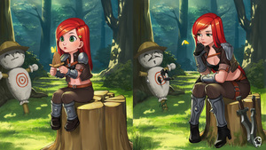 Rating: Safe Score: 1 Tags: 1girl belt bling_(wnsdud34) breasts butterfly chin_rest cleavage cropped_jacket fingerless_gloves gloves green_eyes hat highres katarina_du_couteau kunai league_of_legends lips long_hair midriff outdoors red_hair shoulder_pads sitting solo sword thigh_strap tree_stump weapon younger User: DMSchmidt