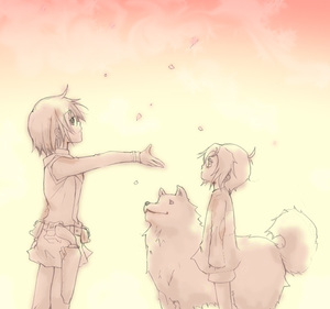 Rating: Safe Score: 0 Tags: 00s 2girls ahoge androgynous animal belt buckle dog from_side height_difference kino kino_no_tabi long_sleeves monochrome multiple_girls profile reverse_trap riku_(kino_no_tabi) short_hair shorts standing sweater tea_(kino_no_tabi) yellow User: Domestic_Importer