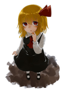 Rating: Safe Score: 0 Tags: 1girl absurdres ascot black_footwear blonde_hair breasts dress eyebrows_visible_through_hair from_above full_body hair_ribbon higashigure highres long_sleeves looking_at_viewer open_mouth red_eyes ribbon rumia shirt short_hair simple_background small_breasts socks solo standing touhou_project white_background User: DMSchmidt