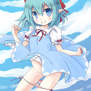 Rating: Questionable Score: 1 Tags: (9) 1girl artist_request ayachin blue_eyes blue_hair blush cirno convenient_censoring dress dress_lift fairy hair_ribbon looking_at_viewer navel pantsu pantsu_pull pointy_ears ribbon side-tie_panties sky smile solo team_shanghai_alice touhou_project underwear wardrobe_error wind_lift User: DMSchmidt