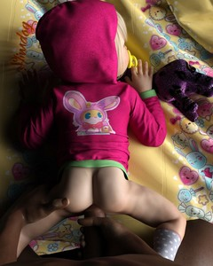 Rating: Explicit Score: 148 Tags: 1boy 1girl 3dcg age_difference anal ass blonde_hair bottomless brown_skin bunny_print clothed_sex dark_skinned_male from_behind highres hoodie lying_on_bed naked_hoodie pacifier photorealistic sex slimdog socks spread_legs toddlercon User: lalilu1234