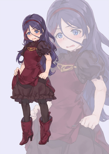 Rating: Safe Score: 0 Tags: 1girl black_legwear blue_eyes blush boots cosplay dress dress_lift full_body geregere_(lantern) hair_between_eyes hairband hayasaka_mirei high_heel_boots high_heels highres idolmaster idolmaster_cinderella_girls lifted_by_self long_hair multicoloured_hair n2_(nier_automata) n2_(nier_automata)_(cosplay) nier_(series) nier_automata open_mouth puffy_short_sleeves puffy_sleeves purple_background purple_hair red_dress red_footwear red_hairband short_sleeves solo standing streaked_hair wavy_mouth zoom_layer User: DMSchmidt
