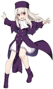 Rating: Safe Score: 1 Tags: 1girl blush dress eyebrows_visible_through_hair fate/zero fate_(series) full_body happy hat illyasviel_von_einzbern jacket long_hair long_sleeves looking_at_viewer open_mouth purple_footwear purple_headwear red_eyes shiseki_hirame simple_background solo upper_teeth white_background white_hair User: DMSchmidt
