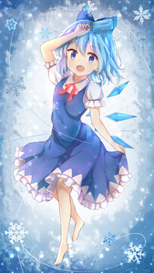Rating: Safe Score: 1 Tags: 1girl :d absurdres arm_up bangs barefoot blue_bow blue_dress blue_eyes blue_hair blush bow cirno collared_shirt dress eyebrows_visible_through_hair food frilled_dress frills full_body glowing hair_between_eyes hair_bow highres holding holding_food ice ice_pop ice_wings neck_ribbon open_mouth puffy_short_sleeves puffy_sleeves red_ribbon ribbon shirt short_sleeves sleeveless sleeveless_dress smile snowflakes solo stick_jitb touhou_project white_shirt wings User: DMSchmidt
