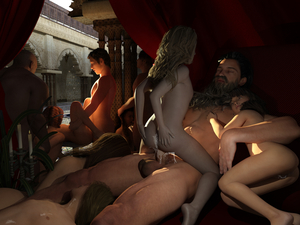 Rating: Explicit Score: 40 Tags: 4boys 6+girls after_sex after_vaginal beard candle closed_eyes cum cum_on_body cum_on_upper_body derivative_work fellatio flat_chest group_sex hand_on_another's_head hetero highres knees_up logan-x lying missionary multiple_boys multiple_girls nude on_back on_side oral orgy original penis sex testicles uncensored User: Domestic_Importer