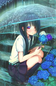 Rating: Safe Score: 2 Tags: 1girl abo_(kawatasyunnnosukesabu) aqua_belt aqua_nails bangs belt black_hair black_legwear black_skirt blue_flower blush brown_footwear eyelashes fingernails flower from_side full_body hair_over_one_eye highres holding holding_flower hydrangea kneehighs leaf loafers long_hair looking_at_viewer looking_to_the_side nail_polish original parted_lips pleated_skirt rain school_uniform shears shirt shoes short_sleeves skirt solo sparkling_eyes splashing squatting stairs transparent_umbrella triangle_mouth umbrella water_drop white_shirt User: DMSchmidt