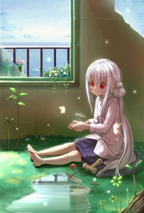 Rating: Safe Score: 0 Tags: 1girl abo_(kawatasyunnnosukesabu) barefoot blue_skirt blurry blush broken_glass butterfly closed_mouth collared_shirt depth_of_field flower glass grass grey_hair hair_between_eyes kendama light_particles long_hair long_sleeves low_ponytail original plant ponytail puddle railing red_eyes shirt sitting skirt smile solo teruterubouzu toy very_long_hair water white_shirt window wing_collar User: DMSchmidt