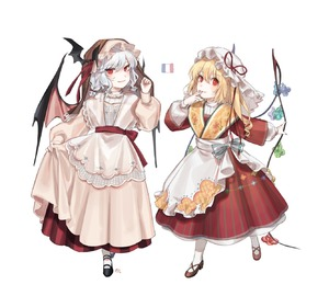 Rating: Safe Score: 1 Tags: 2girls :p absurdres alternate_costume apron bat_hair_ornament bat_wings black_footwear blonde_hair blue_bow blue_hair bow braid cross-laced_footwear dress eyebrows_visible_through_hair fangs fingernails fingers_to_mouth flandre_scarlet floral_print french_flag full_body hair_between_eyes hair_ornament hair_ribbon hand_up hat hat_ribbon highres long_hair long_sleeves mary_janes mob_cap multiple_girls nail_polish one_side_up parted_lips pleated_skirt puffy_sleeves red_dress red_eyes red_footwear red_nails red_ribbon red_sash red_skirt remilia_scarlet ribbon sash shan sharp_fingernails shoes siblings simple_background sisters skirt skirt_hold slit_pupils smile standing striped striped_bow tongue tongue_out touhou_project twin_braids veil vertical-striped_dress vertical_stripes waist_apron white_apron white_background white_bow white_dress white_hat white_legwear wide_sleeves wings User: DMSchmidt