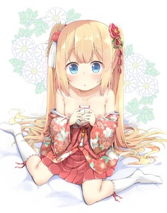 Rating: Questionable Score: 4 Tags: 1girl :o armpit_crease bangs bare_shoulders blonde_hair blue_eyes blush breasts clothes_down collarbone eyebrows_visible_through_hair floral_background floral_print flower full_body green_ribbon hair_bobbles hair_flower hair_ornament hair_ribbon hair_spread_out hakama_skirt highres japanese_clothes kanzashi kimono kneehighs long_hair looking_at_viewer nipples no_shoes obi original parted_lips pink_kimono pirason pleated_skirt print_kimono red_flower red_skirt ribbon ribbon-trimmed_legwear ribbon_trim sanpaku sash short_kimono sidelocks sitting skirt small_breasts solo tareme tassel twin_tails very_long_hair wariza white_background white_legwear User: DMSchmidt