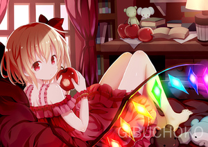 Rating: Safe Score: 0 Tags: 1girl alternate_costume apple bangs bare_shoulders barefoot bed_sheet blonde_hair blush book bookshelf bow crystal curtains desk desk_lamp dress eyebrows_visible_through_hair flandre_scarlet food frilled_dress frills fruit givuchoko glowing hair_between_eyes hair_bow hands_up holding holding_food holding_fruit indoors lamp long_hair looking_at_viewer looking_back off-shoulder_dress off_shoulder red_apple red_bow red_dress red_eyes shiny shiny_skin solo stuffed_animal stuffed_elephant stuffed_toy teddy_bear touhou_project window wings wrist_cuffs User: DMSchmidt